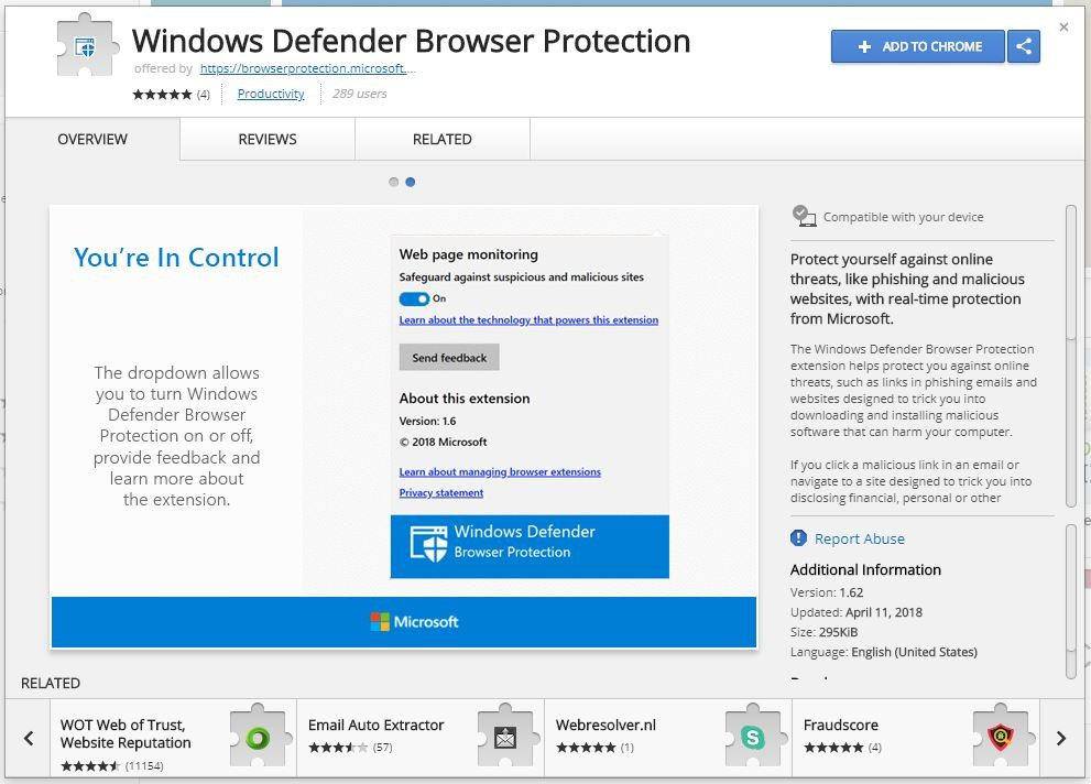 Windows Defender Chrome