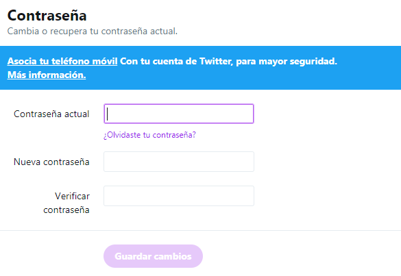 Twitter contraseña