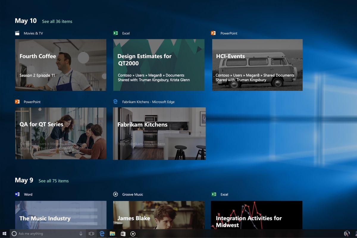 Windows 10 Timeline